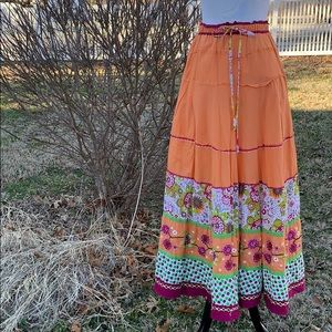 Double D Ranch tiered prairie maxi skirt S